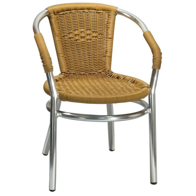 Aluminum and Honey Rattan Patio Chair