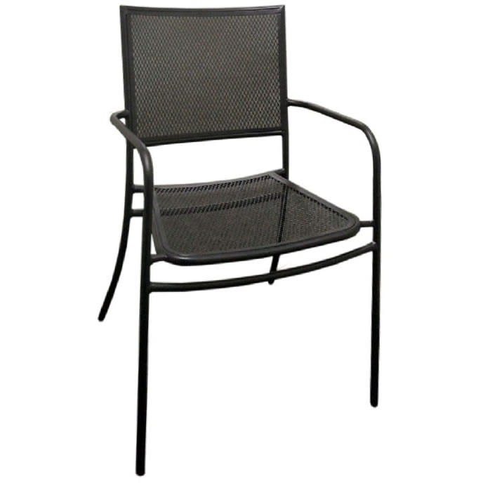 Garden Patio Chair with Armrest in Black Finish