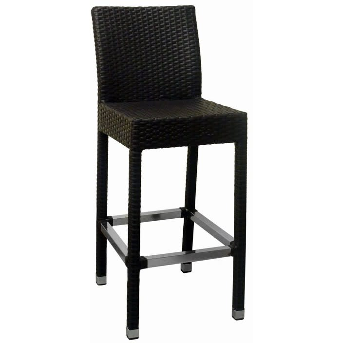Felix Woven Black Rattan Patio Bar Stool