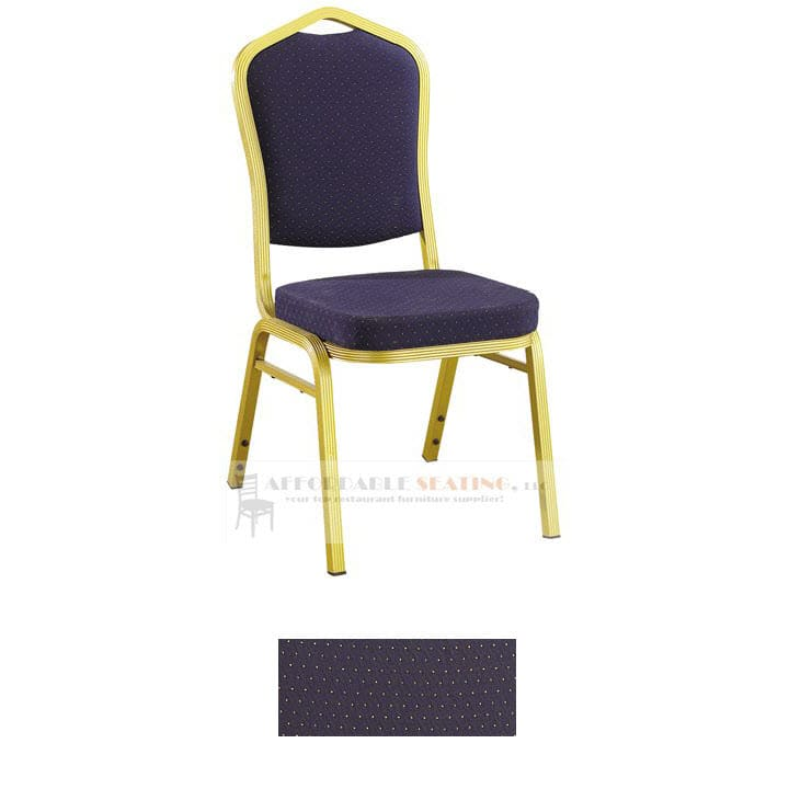 Aluminum Banquet Chair with Sun Gold Frame Finish and Blue Fabric