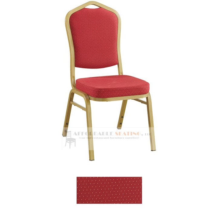 Aluminum Banquet Chair with Sun Gold Frame Finish and Red Fabric