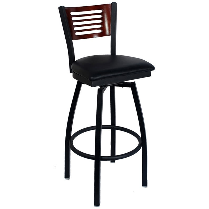 Interchangeable Back Swivel Bar Stool with a Wood Back - 5 Slats