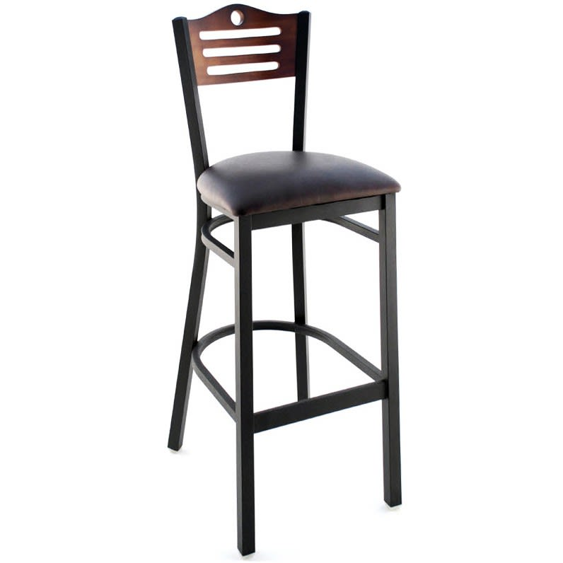 Interchangeable Back Metal Bar Stool with Slats & Circle