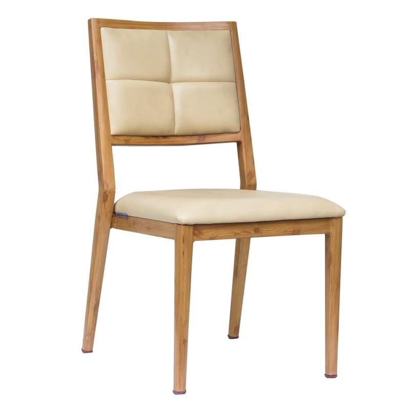 Milano Modern Padded Wood Grain Aluminum Chair