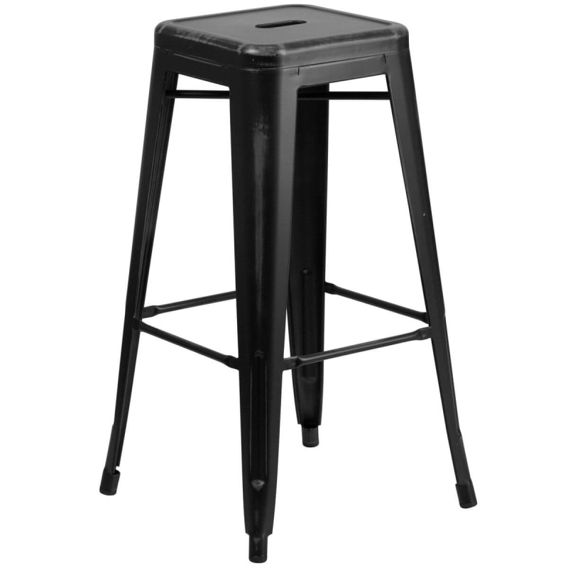 Distressed Black Backless Bistro Style Bar Stool