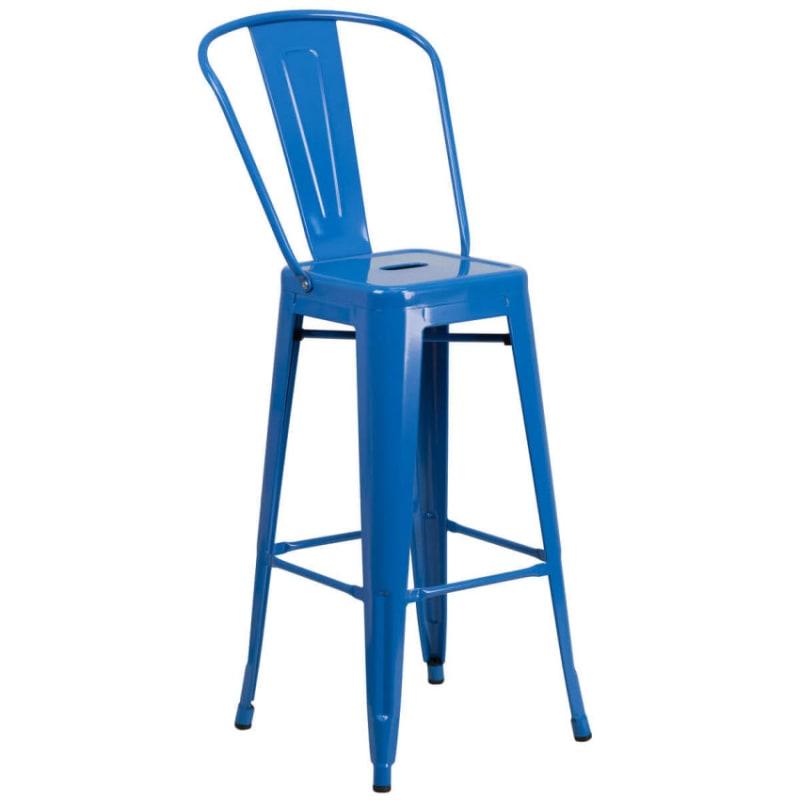 Blue Bistro Style Metal Bar Stool