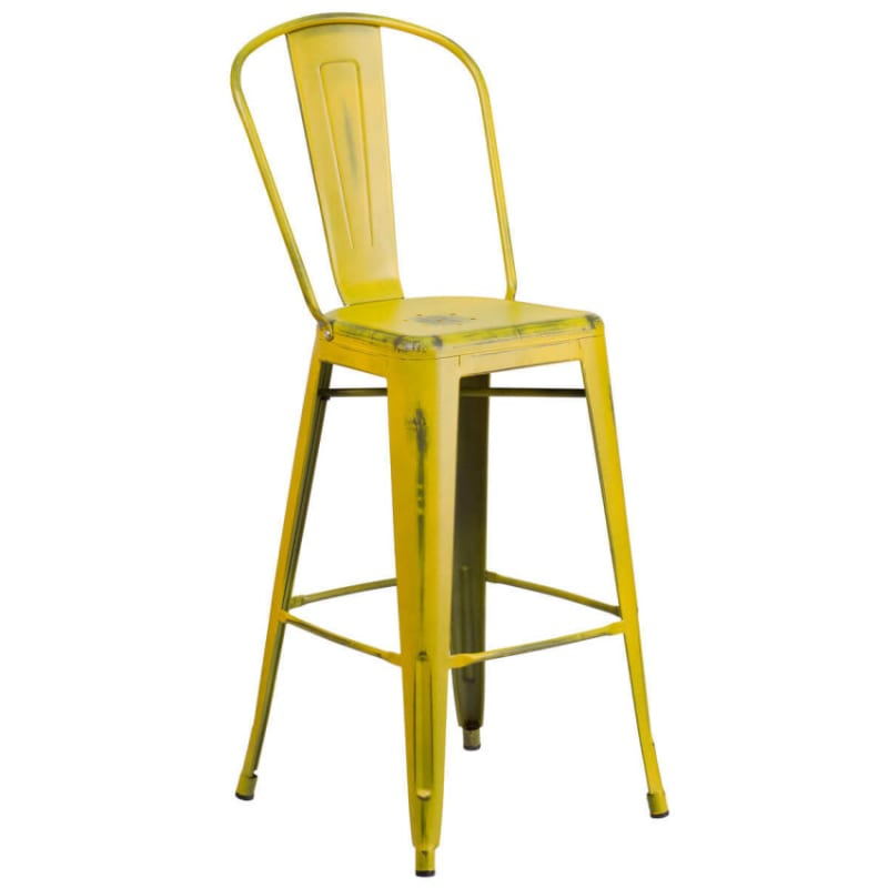 Distressed Yellow Bistro Style Bar Stool