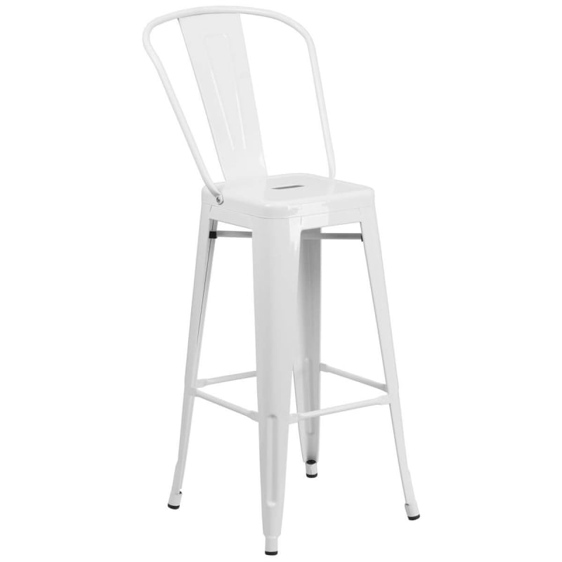 White Bistro Style Metal Bar Stool
