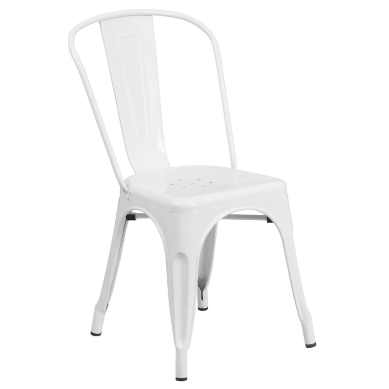Bistro Style Metal Chair in White Finish