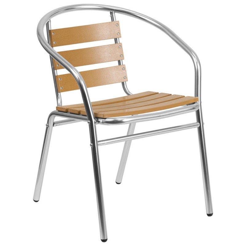 Economy Aluminum Faux Teak Patio Chair