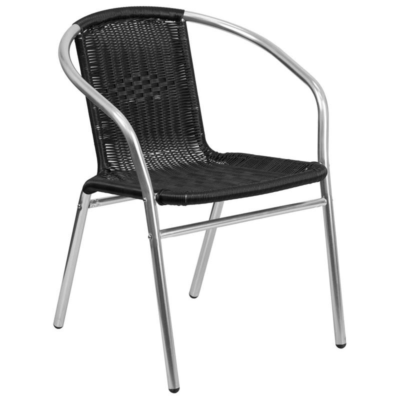 Economy Aluminum Black Rattan Patio Chair