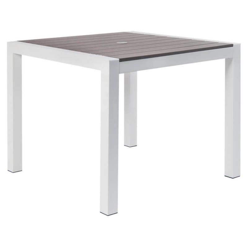 White Aluminum Restaurant Patio Table with Grey Plastic Teak Top