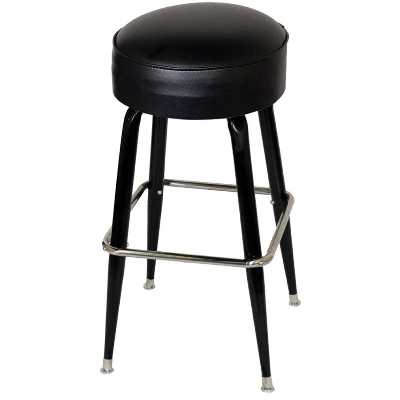 Black Vinyl Padded Backless Swivel Bar Stool with Footrest