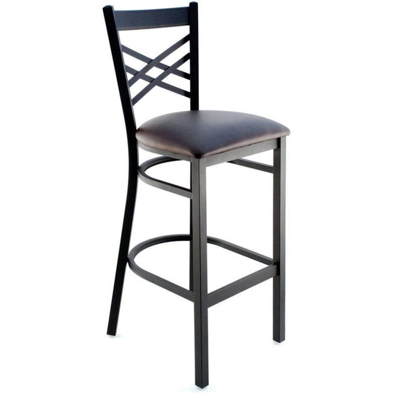 Metal Cross Back Bar Stool