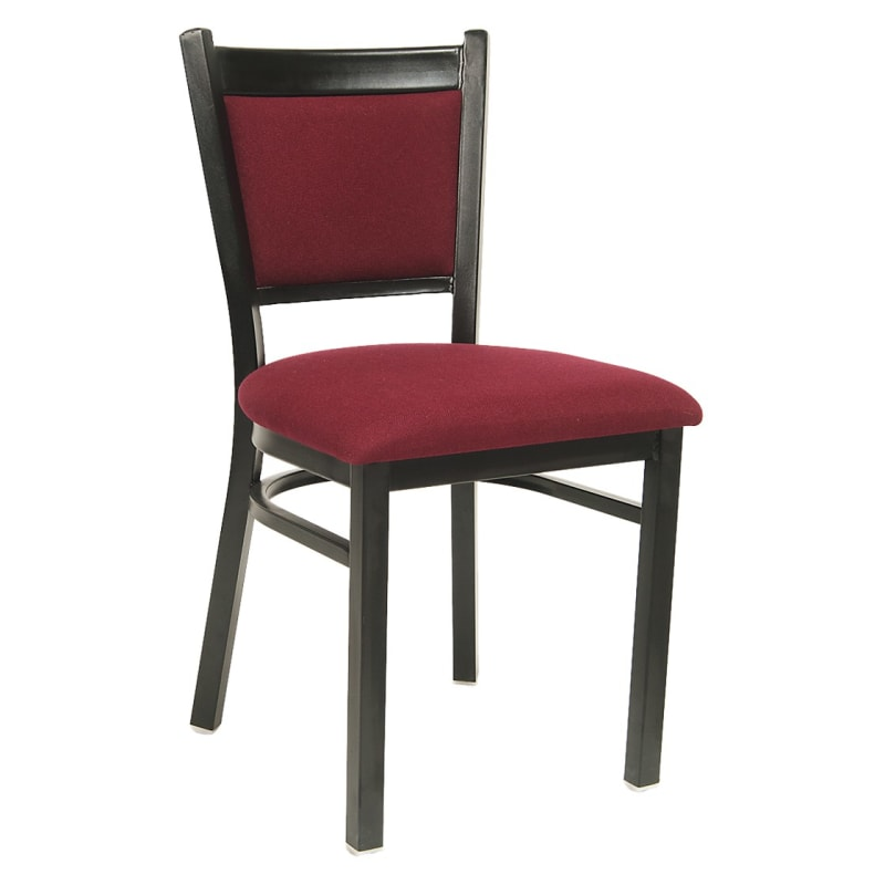 Black Metal Chair with Burgundy Fabric Seat and Back