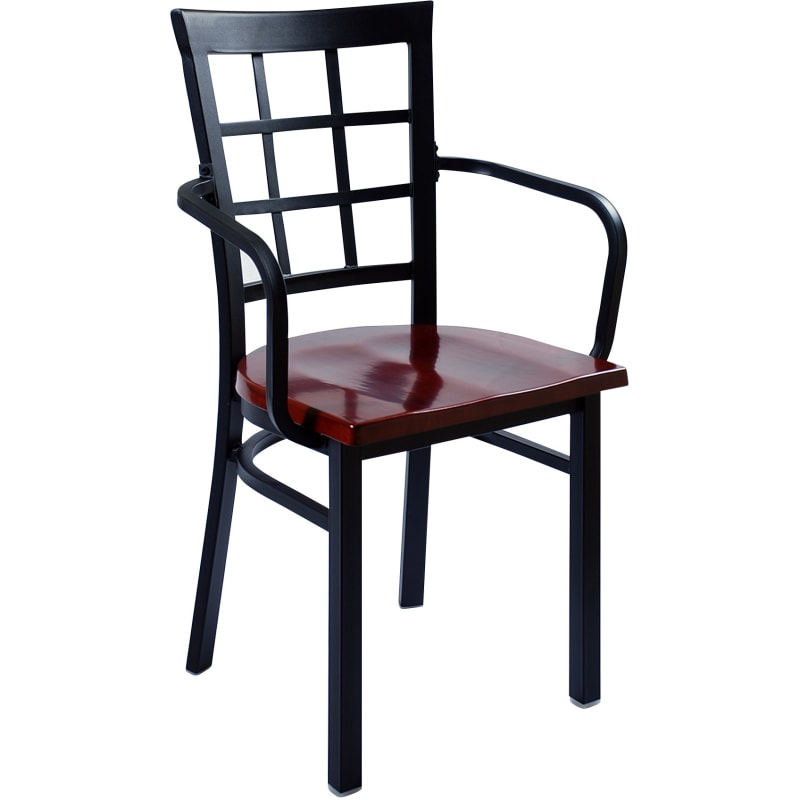Window Back Metal Chair with Arms