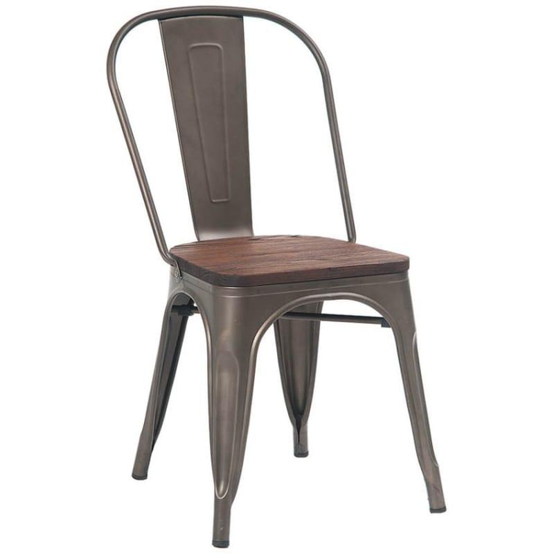 Bistro Style Metal Chair in Dark Grey Finish with Walnut Wood Seat