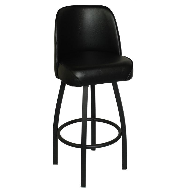 Swivel Bar Stool in Black Finish and Padded Bucket Seat