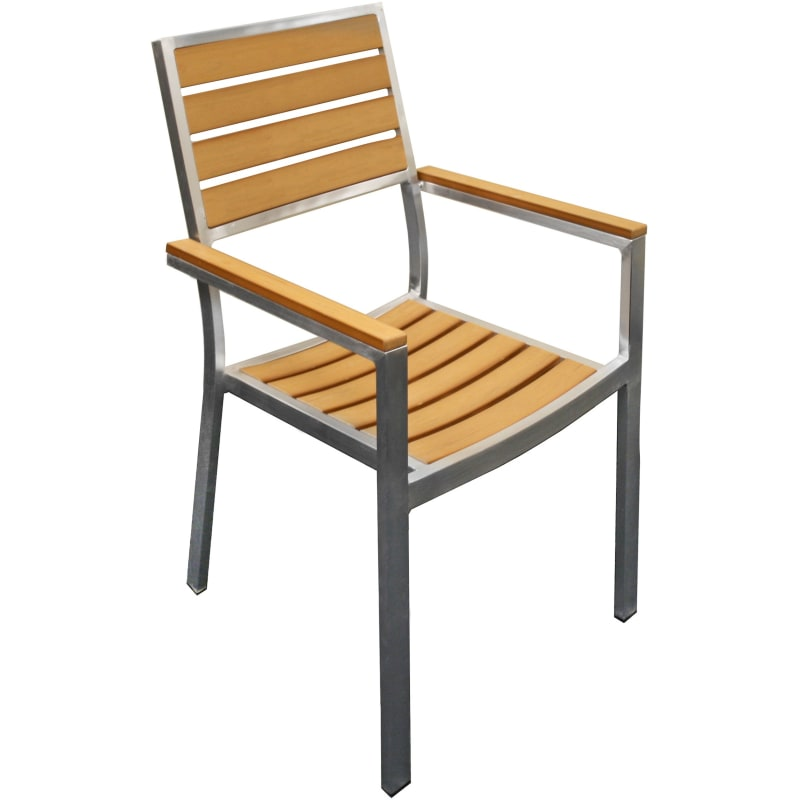 Synthetic Teak Aluminum Patio Chair in Natural Color