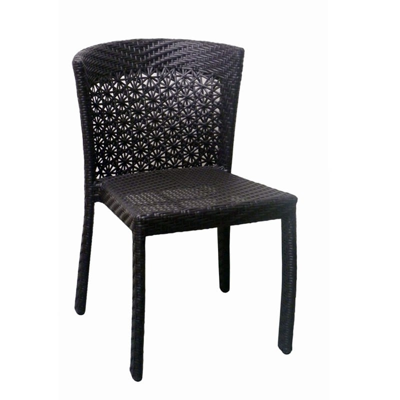 Aluminum Woven Rattan Patio Chair in Black Finish
