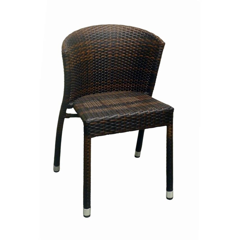 Fabia Woven Rattan Patio Chair in Black Finish