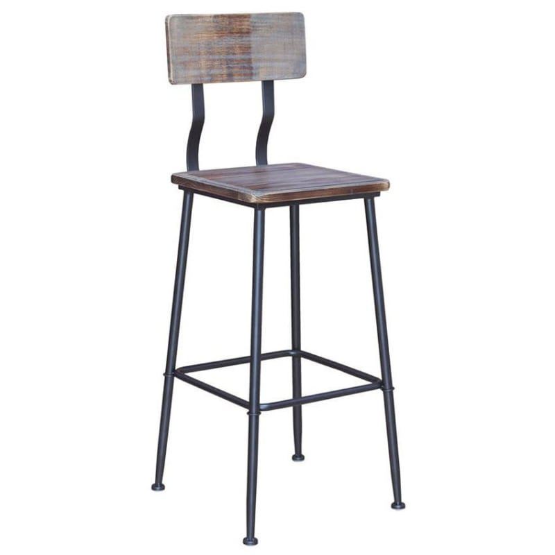 Industrial Bar Stool with Distressed Walnut Wood Back & Seat