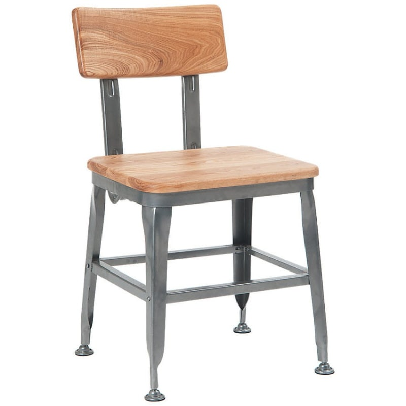 Dark Grey Industrial Chair with Natural Wood Back & Seat