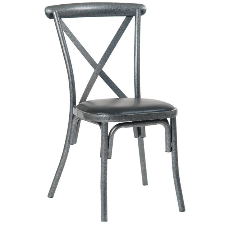 Stackable Metal X-Back Chair in Silver Vein with Black Vinyl Seat