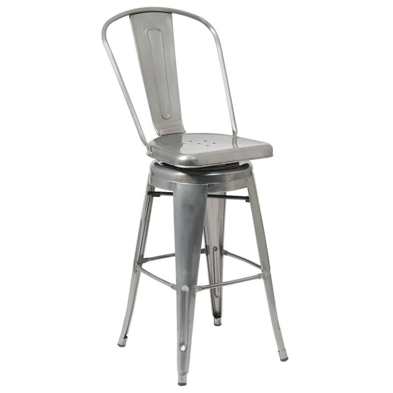 Bistro Style Metal Swivel Bar Stool in Clear Finish