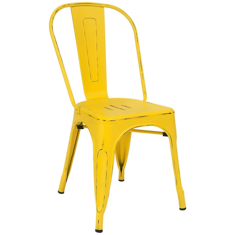 Bistro Style Metal Chair in Distressed Yellow Finish