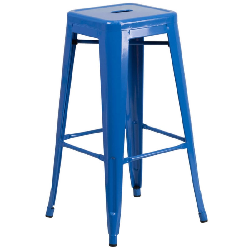 Backless Blue Bistro Style Metal Bar Stool