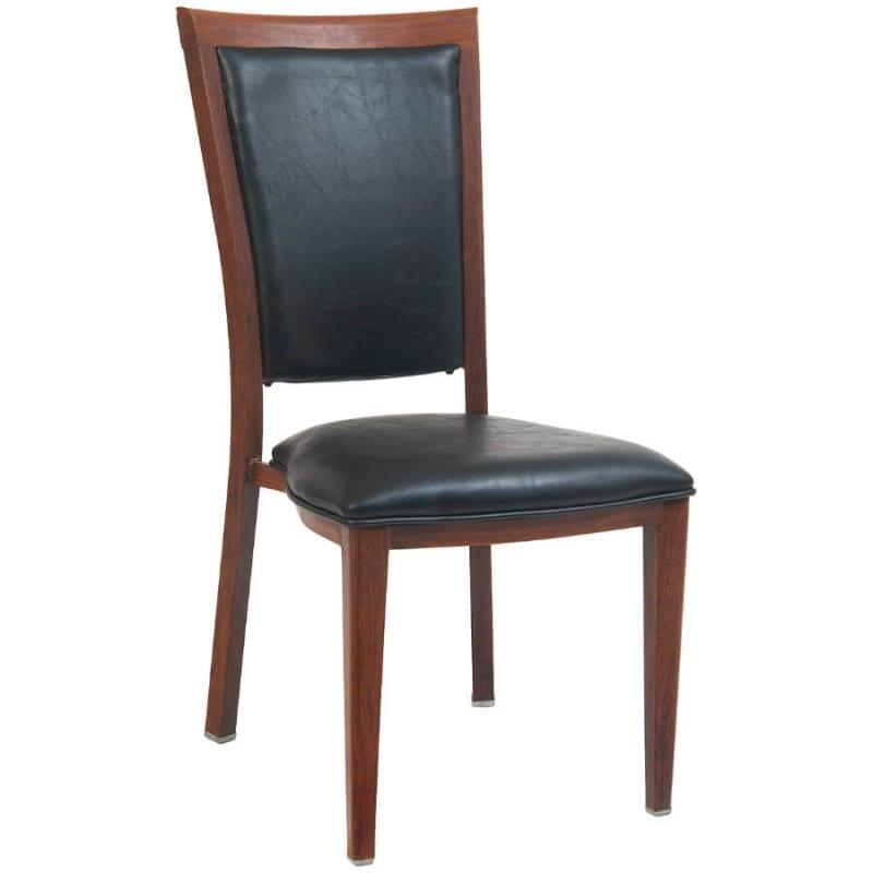 Elongated Padded Back Wood Grain Metal Chair