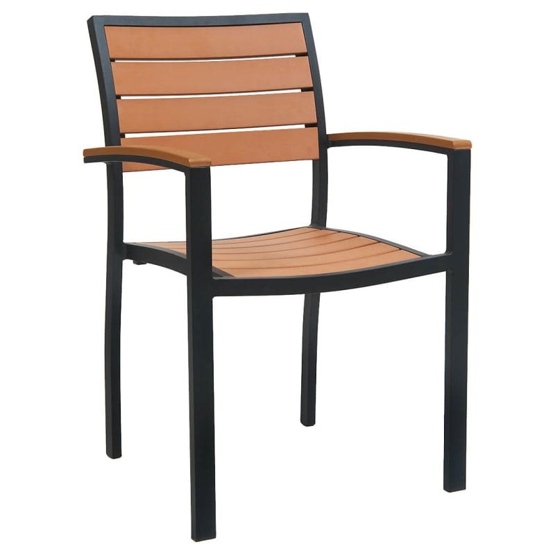 Black Aluminum Plastic Teak Patio Arm Chair