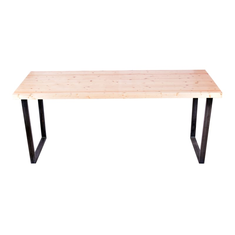 """Industrial Series Communal Table with 2"""" Solid Wood Top"""