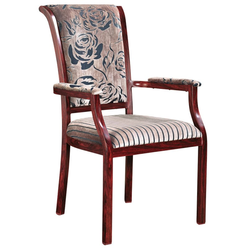 Sybil Senior Living Wood Grain Finish Aluminum Arm Chair