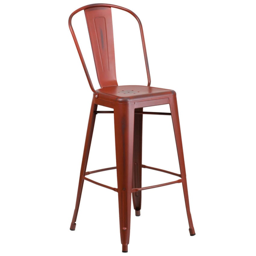 Distressed Red Bistro Style Bar Stool
