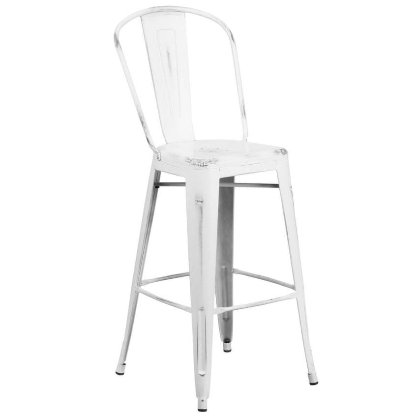 Distressed White Bistro Style Bar Stool