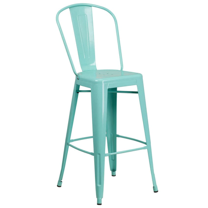 Light Blue Bistro Style Metal Bar Stool