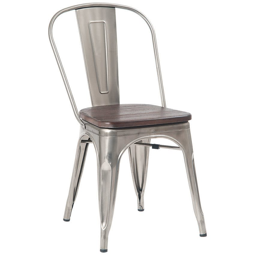 Bistro Style Metal Chair in Clear Finish with Walnut Wood Seat