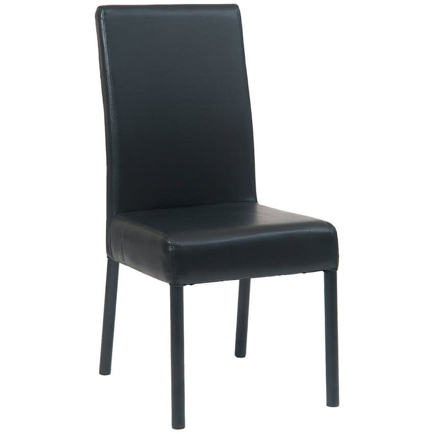 Black Metal Parsons Chair with Black Vinyl Upholstery