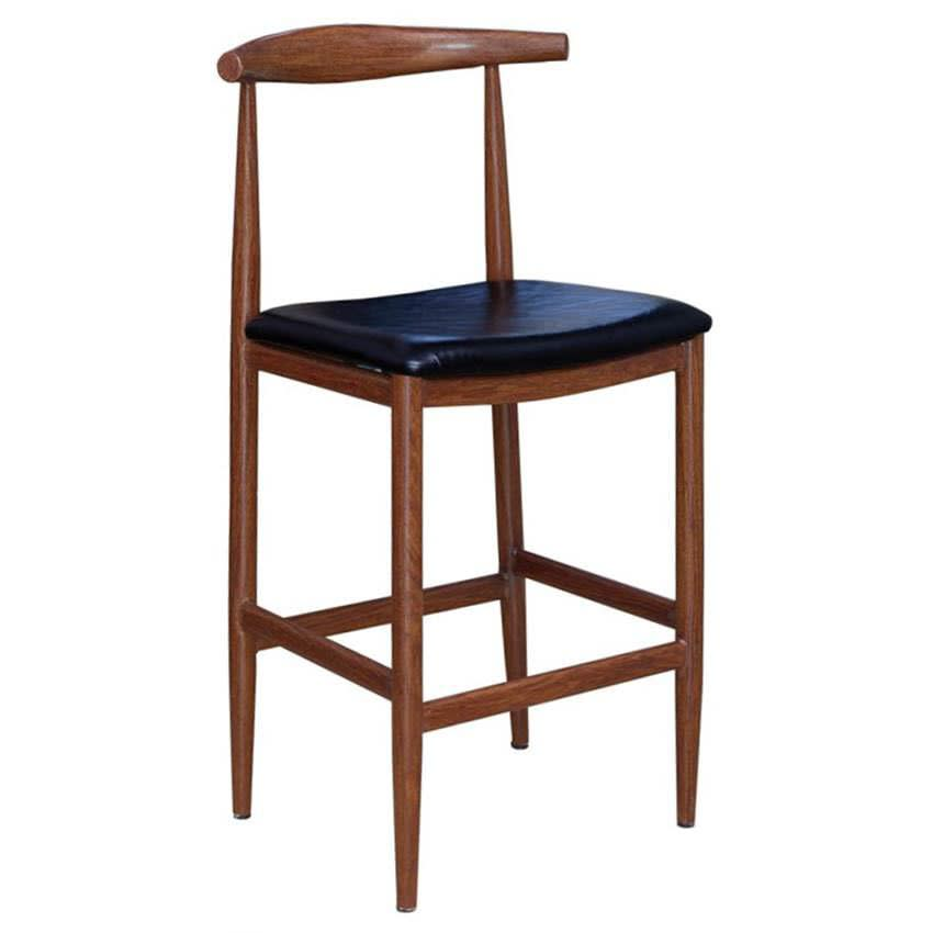 Wood Grain Metal Bar Stool in Walnut Finish & Black Vinyl Seat