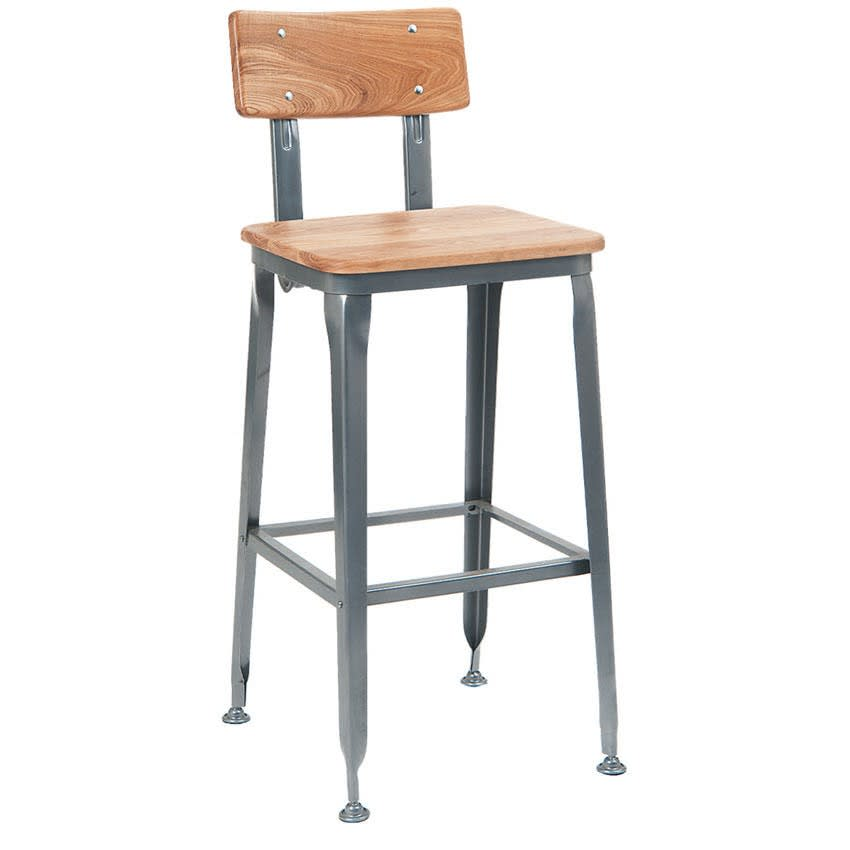 Dark Grey Industrial Bar Stool with Natural Wood Back & Seat