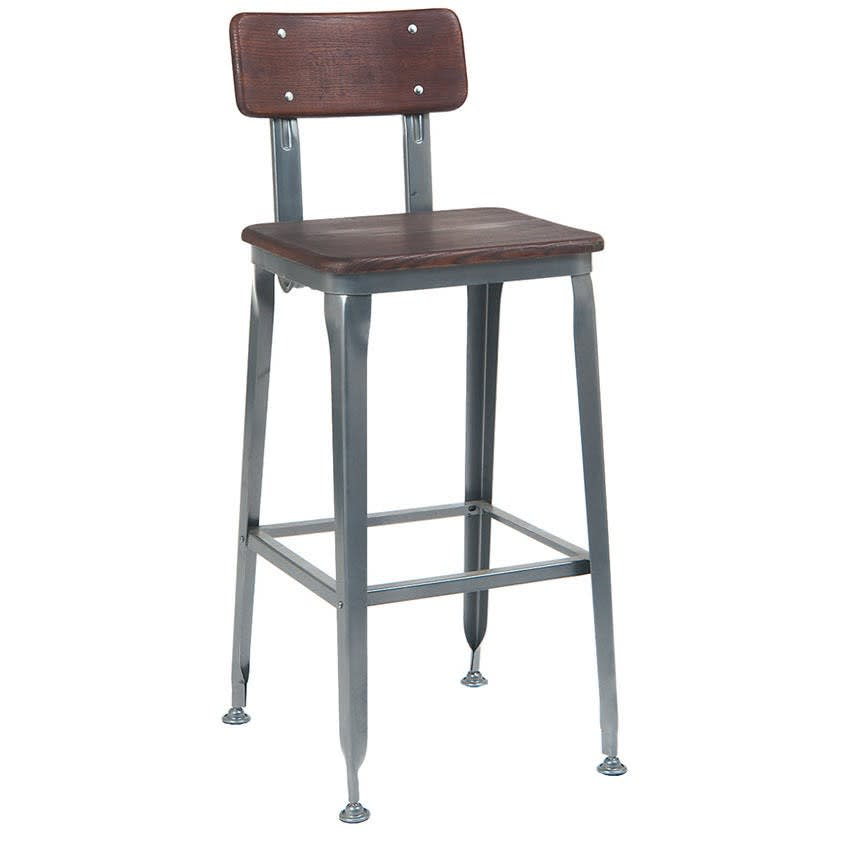Dark Grey Industrial Bar Stool with Dark Walnut Wood Back & Seat