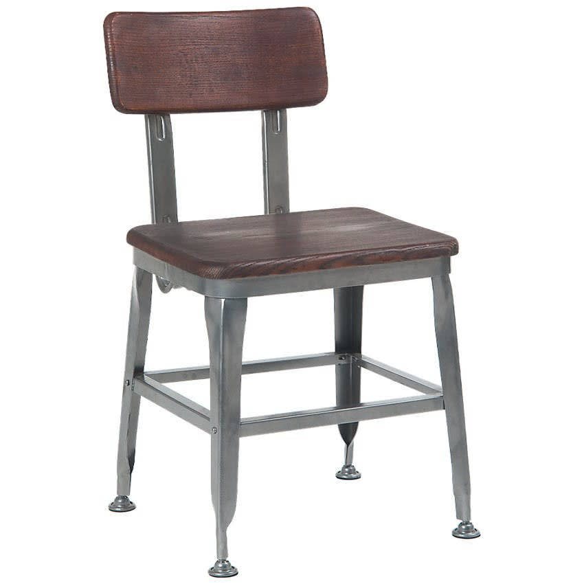 Dark Grey Industrial Chair with Dark Walnut Wood Back & Seat