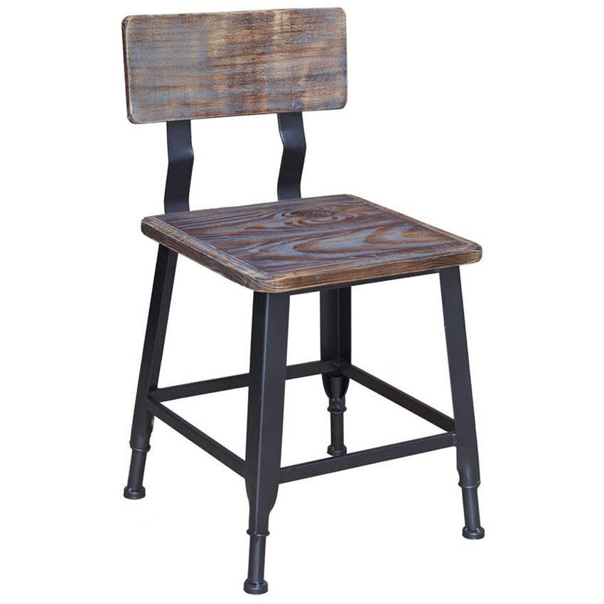 Black Industrial Style Metal Chair in Distressed Walnut Wood Back and Seat