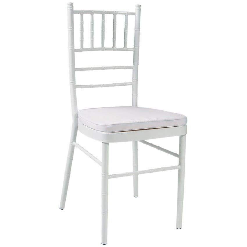Economy Metal Chiavari Chair in White Finish with White Cushion