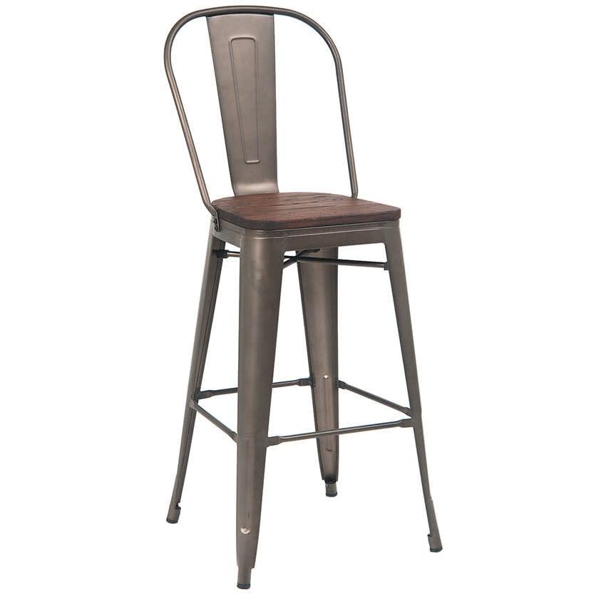 Dark Grey Bistro Style Bar Stool with Walnut Wood Seat