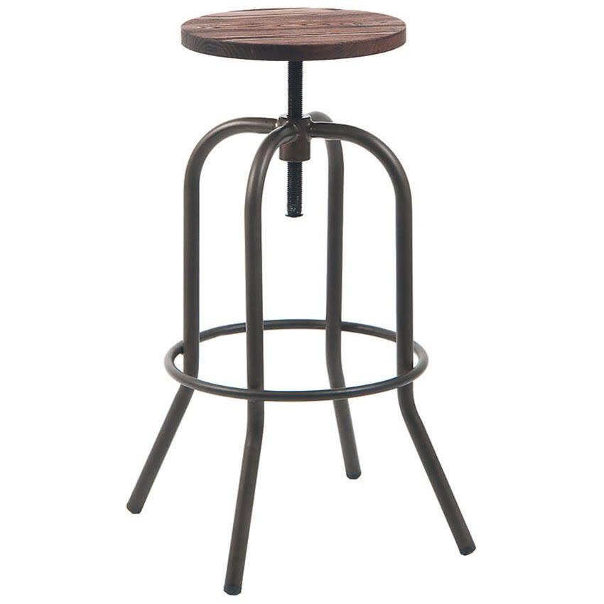 Dark Grey Swivel Backless Bar Stool with Walnut Wood Seat