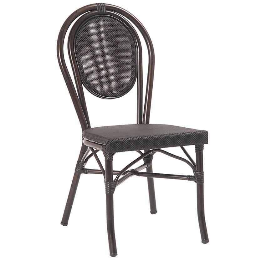 Economy Black Aluminum Patio Chair With Rattan