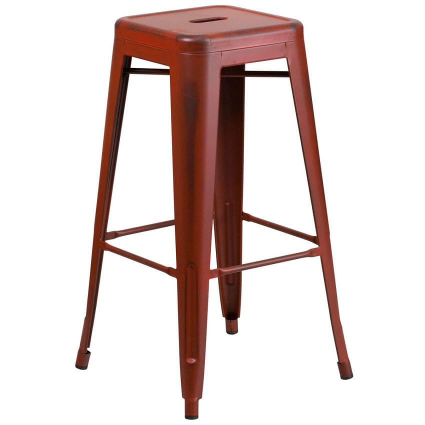 Backless Distressed Red Bistro Style Bar Stool